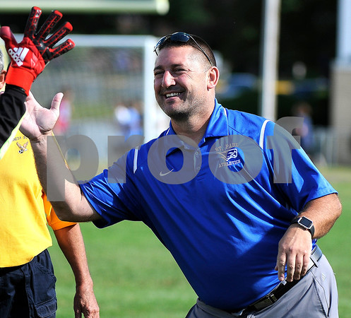 9/8/2017 Mike Orazzi | Staff St. Paul Boys Soccer Coach Joe Abele Friday in Bristol.