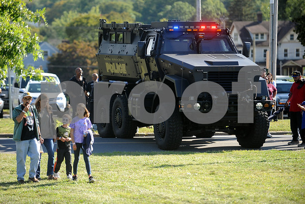 9/9/2017 Mike Orazzi | Staff The New Britain Police Department's Mine-Resistant Ambush Protected (MRAP) vehicle on display during the Main Street USA Festival held in Walnut Hill Park in New Britain Saturday.