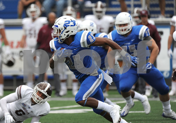 9/9/2017 Mike Orazzi | Staff CCSU's Tajik Brown (23) during Saturday's game with Fordham in New Britain.